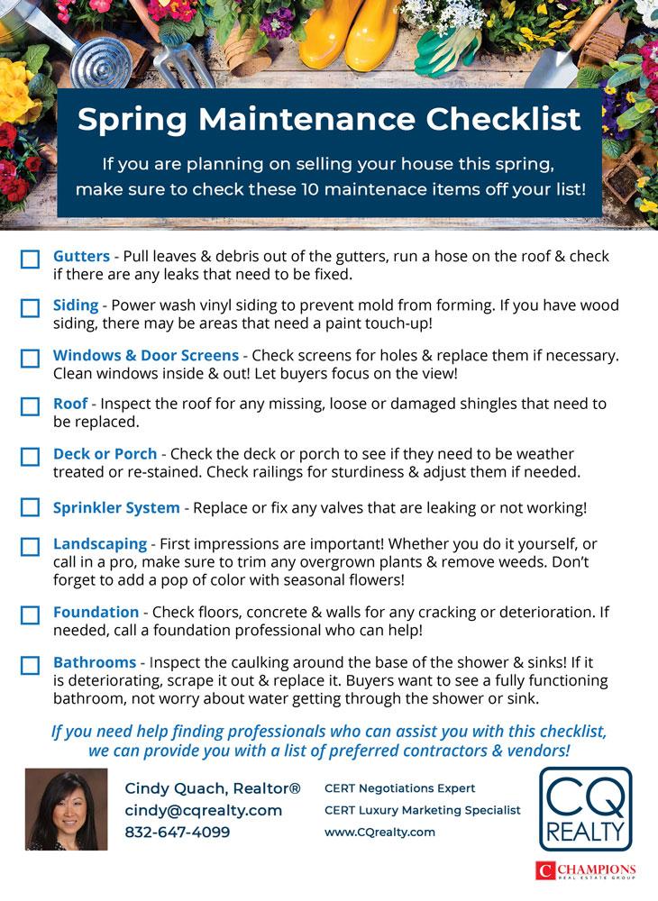 Home Spring Maintenance Checklist